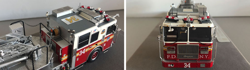 Closeup pictures 1-2 of the FDNY Ladder 34 scale model