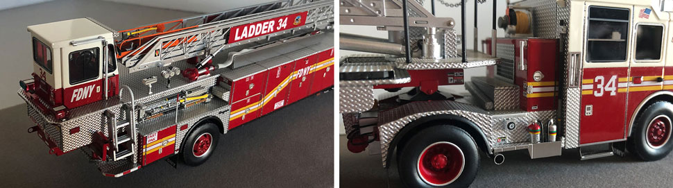 Closeup pictures 3-4 of the FDNY Ladder 34 scale model