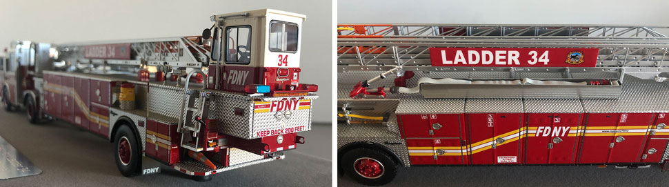 Closeup pictures 5-6 of the FDNY Ladder 34 scale model