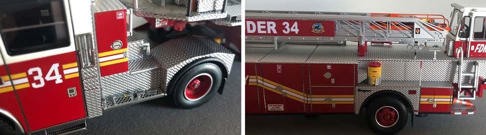 Closeup pictures 9-10 of the FDNY Ladder 34 scale model