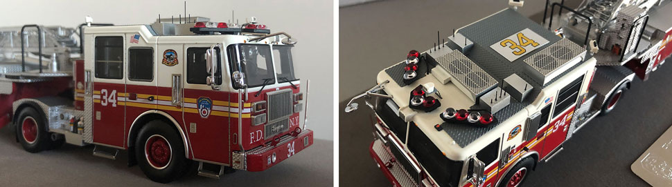 Closeup pictures 11-12 of the FDNY Ladder 34 scale model