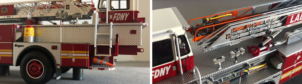 Closeup pictures 13-14 of the FDNY Ladder 34 scale model