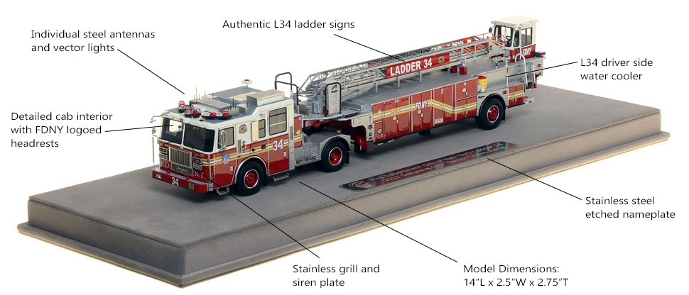 Features and Specs of FDNY Ladder 34 scale model