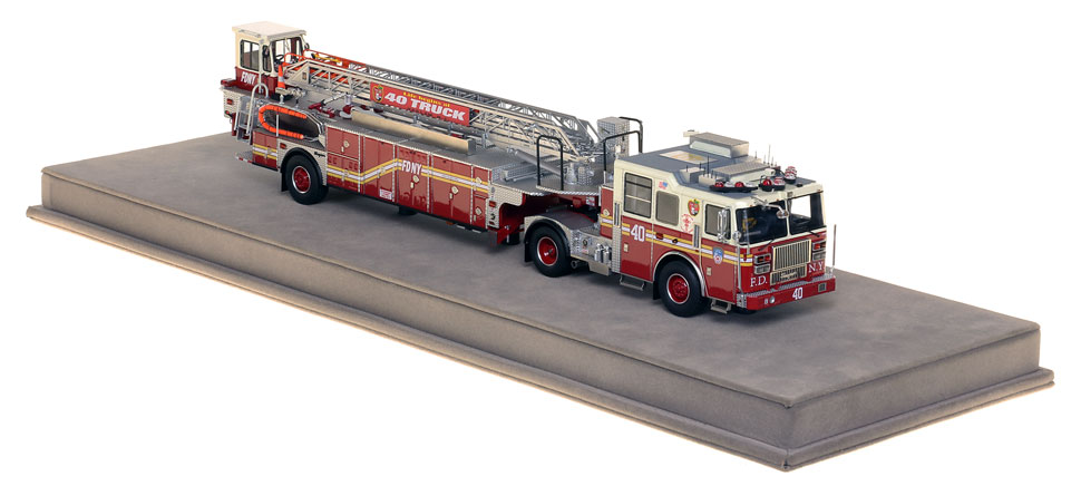 Specs and features of Brooklyn's Ladder 40 scale model.