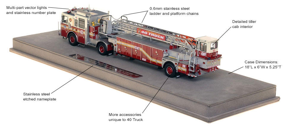 FDNY Ladder 40 scale model includes authentic details