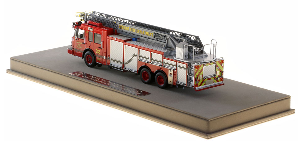 Detroit Ladder 22 scale model is protected in a custom case.