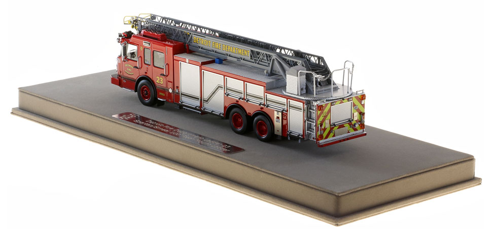 Detroit Ladder 23 scale model is protected in a custom case.
