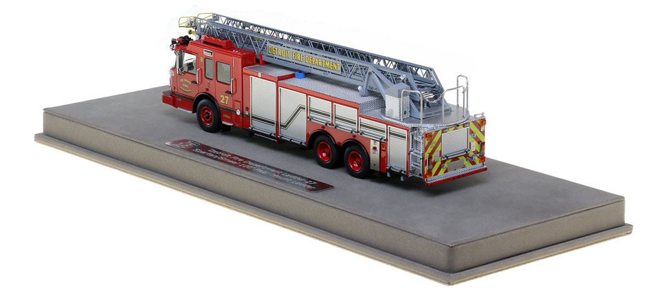Detroit Ladder 27 scale model is protected in a custom case.