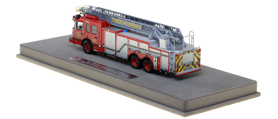 Detroit Ladder 31 scale model is protected in a custom case.