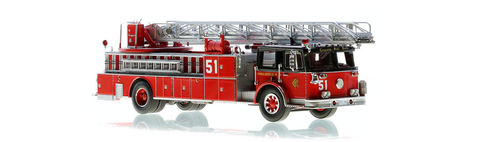 Chicago Fire Department Truck 51 Seagrave Ladder scale model