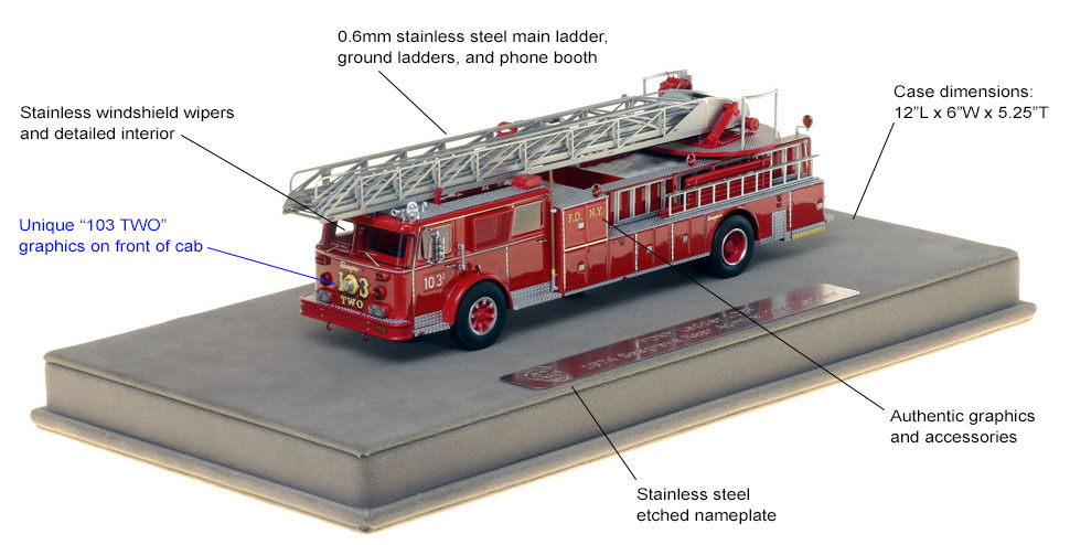 Features and specs of FDNY Ladder 103-TWO