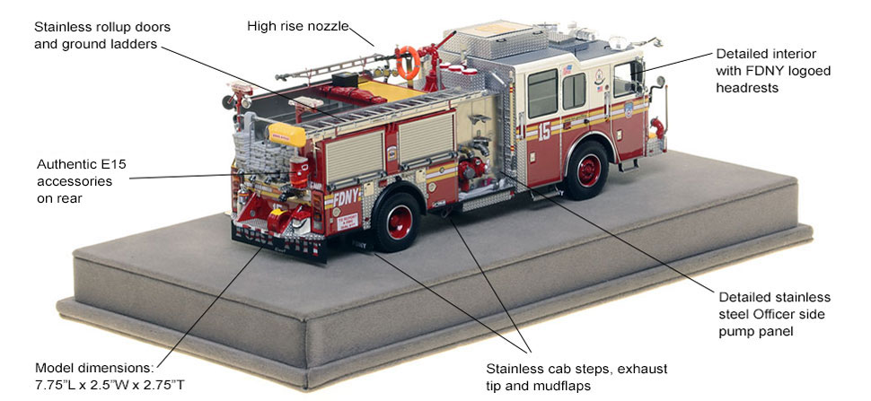 Specs and Features of FDNY Engine 15 scale model