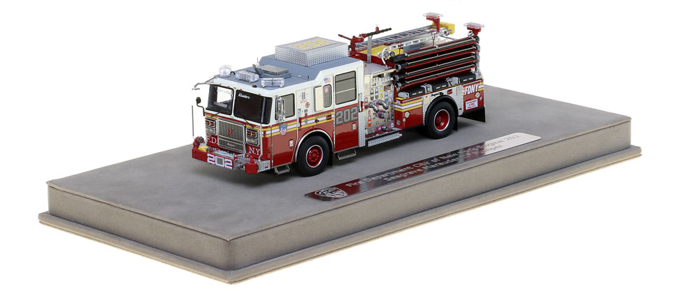 FDNY Engine 202 includes a fully custom display case.