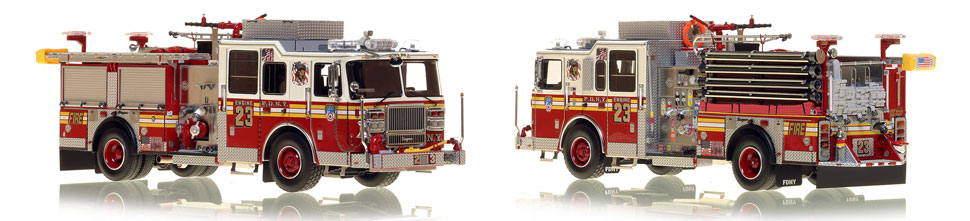 FDNY's Engine 23 scale model is hand-crafted and intricately detailed.