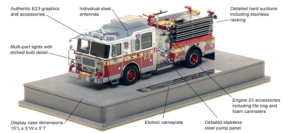 Features and Specs of FDNY's Seagrave Engine 23 scale model