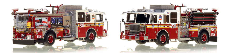 FDNY's Engine 231 scale model is hand-crafted and intricately detailed.