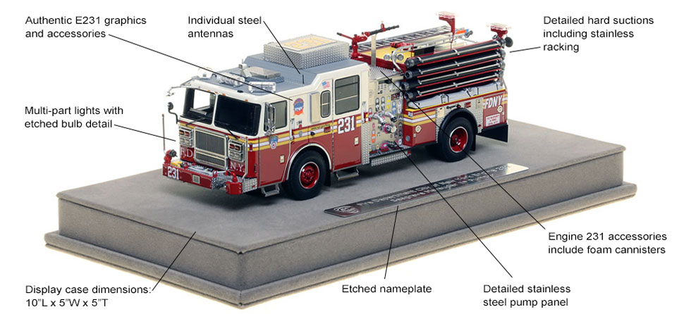 Features and Specs of FDNY's Seagrave Engine 231 scale model