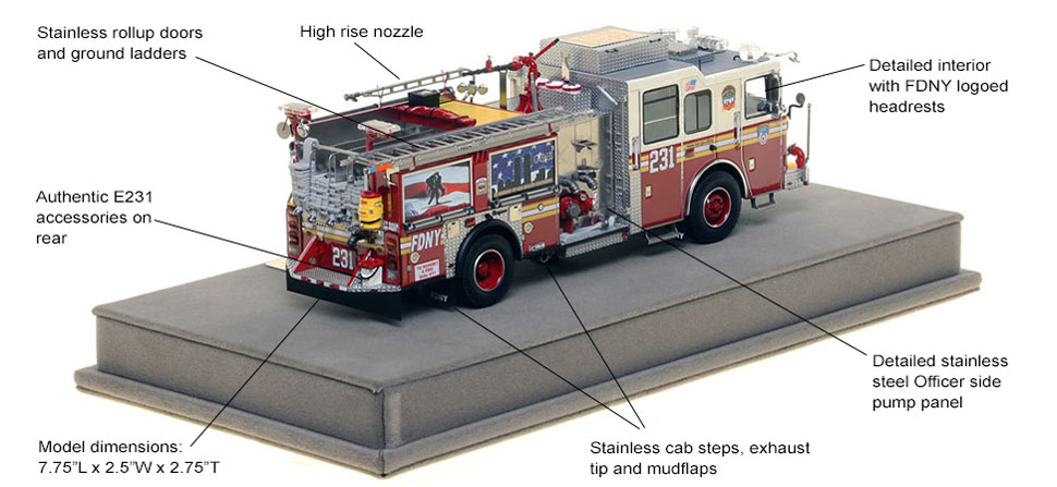 Specs and Features of FDNY's Seagrave Engine 231 scale model