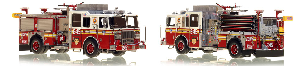 FDNY's Engine 245 scale model is hand-crafted and intricately detailed.
