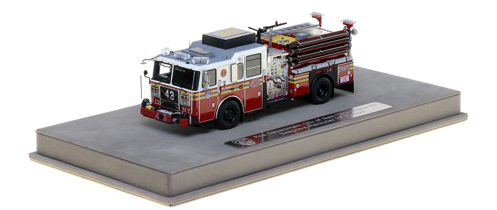 FDNY Engine 43 includes a fully custom display case.