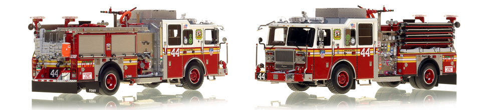 FDNY's Engine 44 scale model is hand-crafted and intricately detailed.