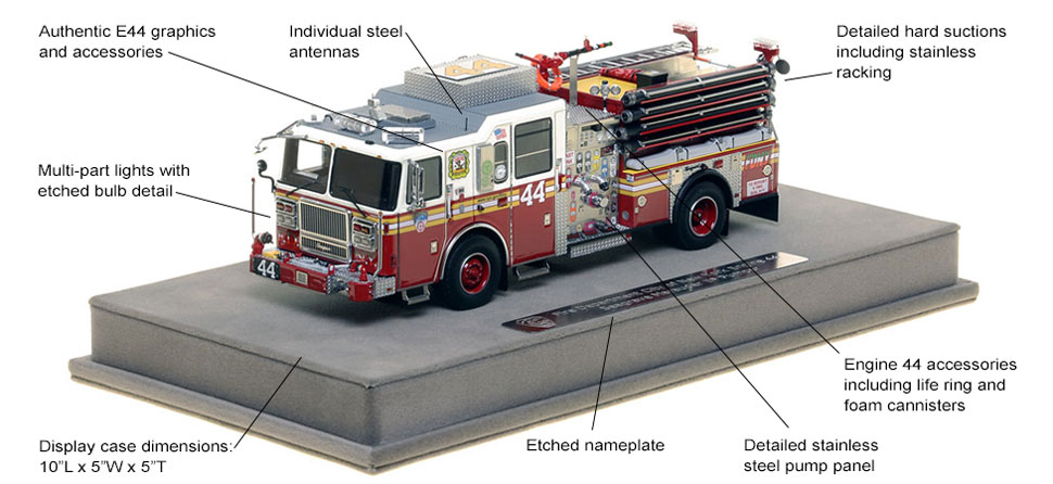 Features and Specs of FDNY's Seagrave Engine 44 scale model