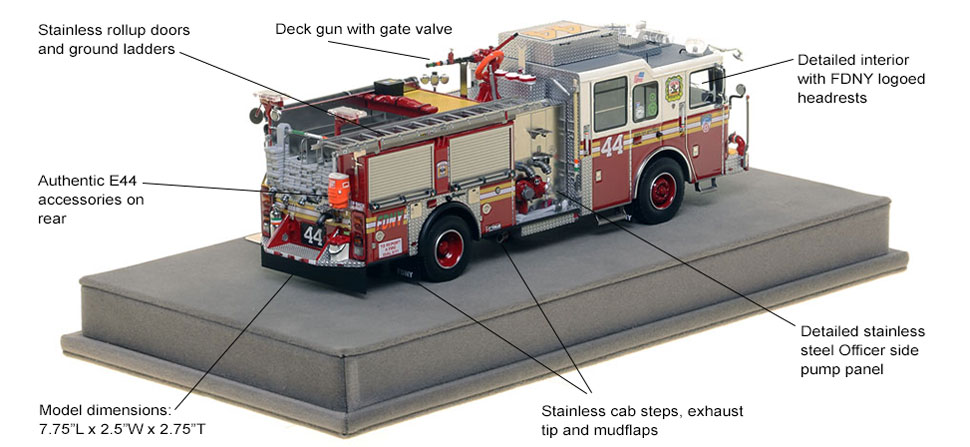 Specs and Features of FDNY Engine 44 scale model