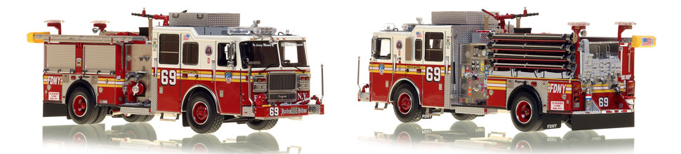 FDNY's Engine 69 scale model is hand-crafted and intricately detailed.