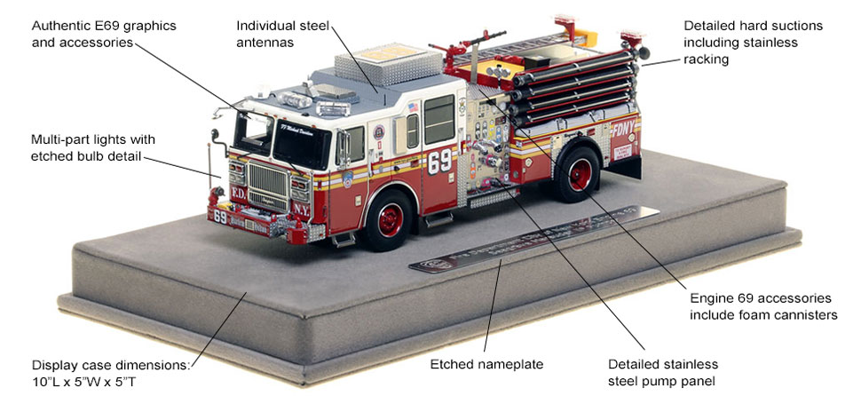 Features and Specs of FDNY's Seagrave Engine 69 scale model