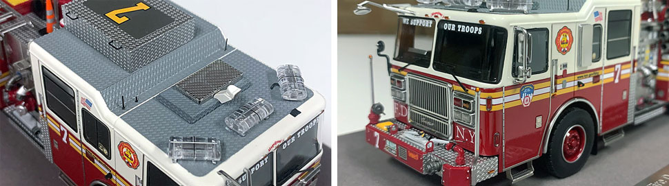 Closeup pictures 3-4 of the FDNY Engine 7 scale model