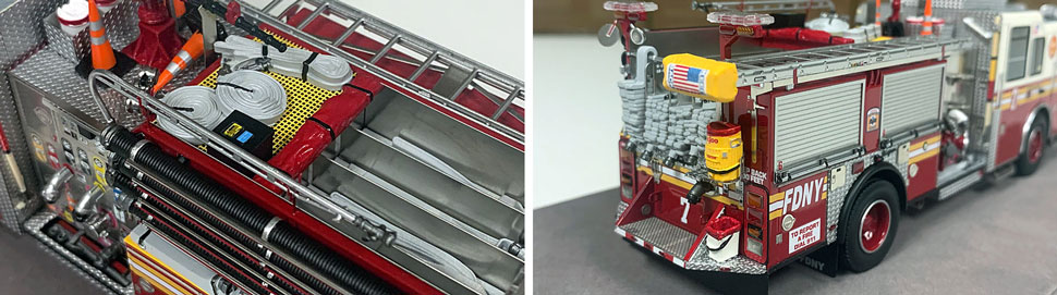 Closeup pictures 11-12 of the FDNY Engine 7 scale model