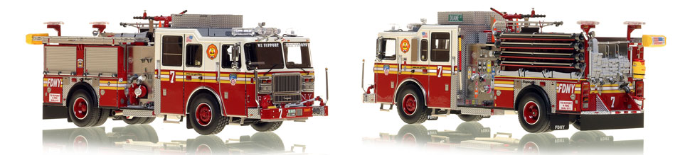 FDNY's Engine 7 scale model is hand-crafted and intricately detailed.