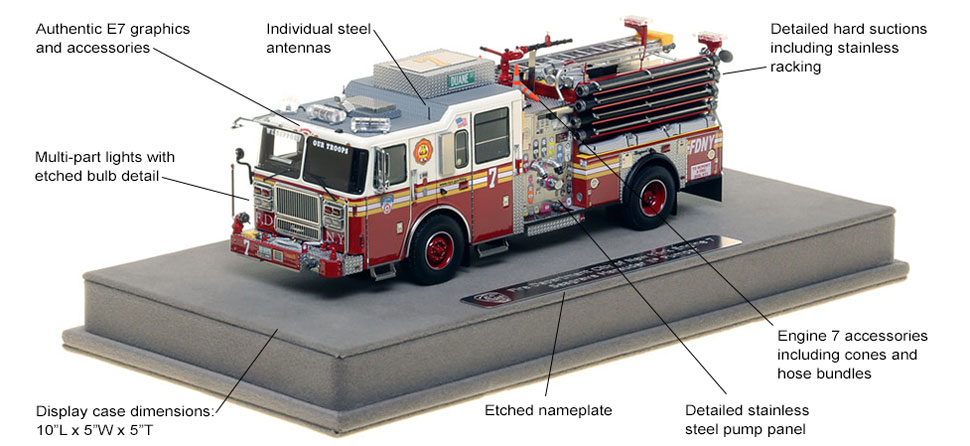 Features and Specs of FDNY's Seagrave Engine 7 scale model