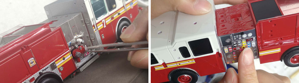 FDNY Seagrave Engine scale models assembly pictures 11-12