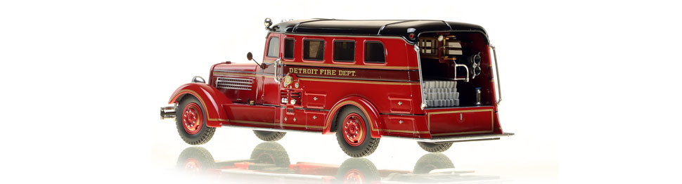 Detroit's 1937 Seagrave Safety Sedan features authentic details.