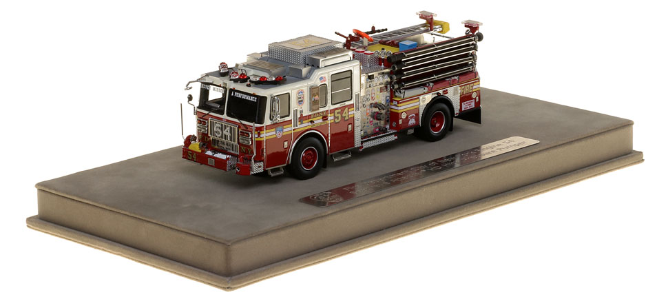 FDNY Engine 54 includes a fully custom display case.