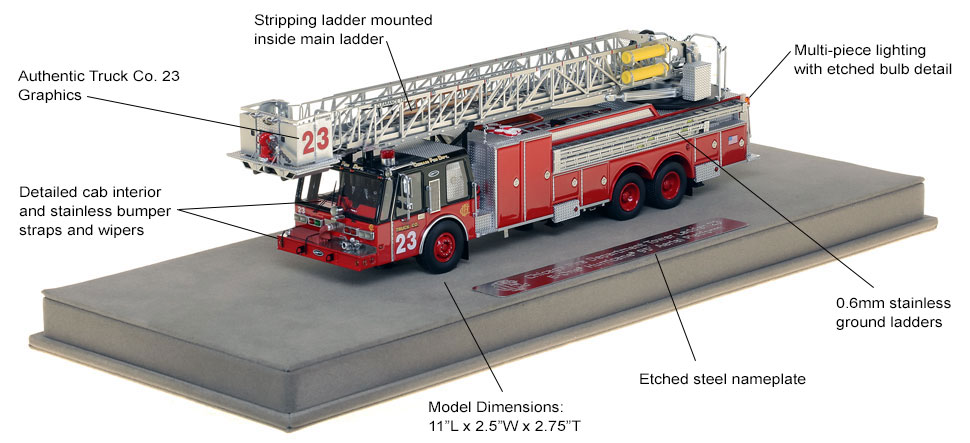 Features and specs of Chicago Tower Ladder 23 scale model