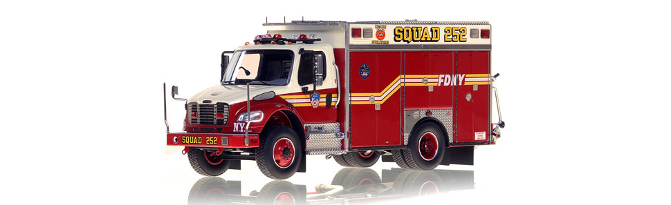 The first museum grade 1:50 scale model of FDNY second piece Squad 252