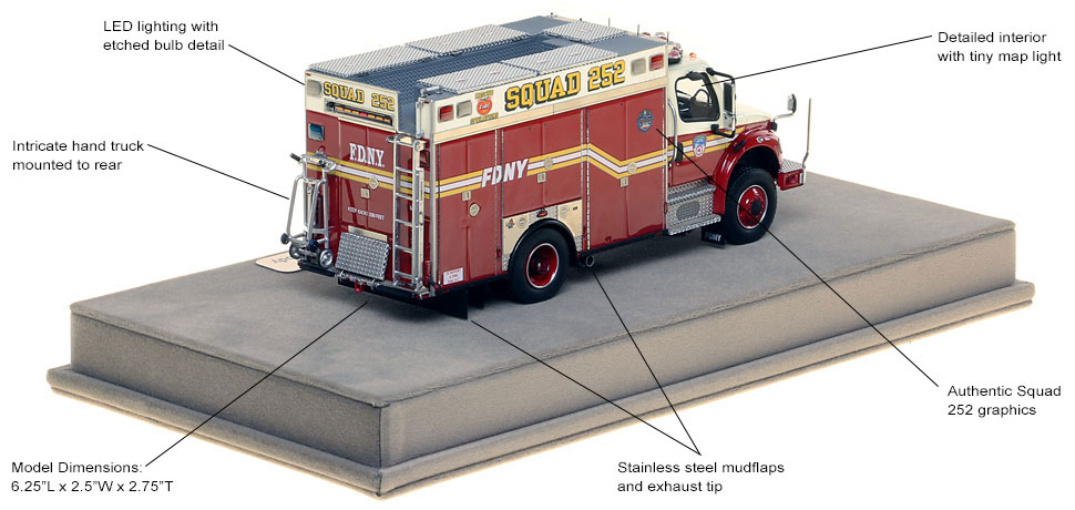 Features and specs of FDNY's Freightliner M2 Squad 252 Second Piece scale model