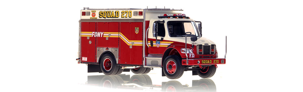 The first museum grade 1:50 scale model of FDNY second piece Squad 270