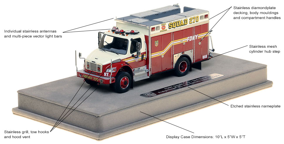 Specs and Features of the FDNY Squad 270 Second Piece scale model