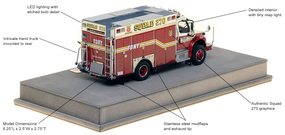 Features and specs of FDNY's Freightliner M2 Squad 270 Second Piece scale model
