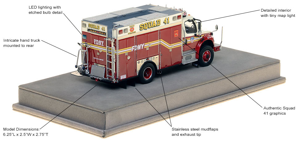 Features and specs of FDNY's Freightliner M2 Squad 41 Second Piece scale model