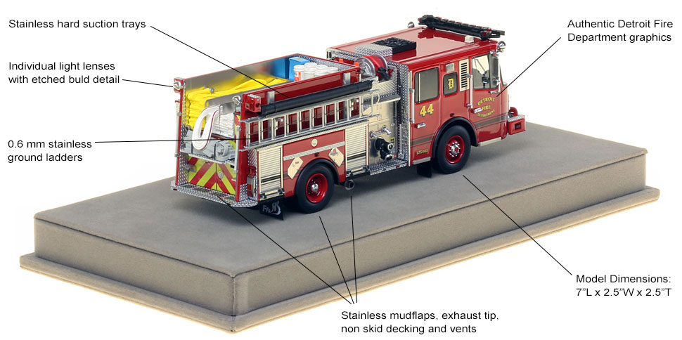 Features and specs of Detroit Ferrara Engine 44 scale model