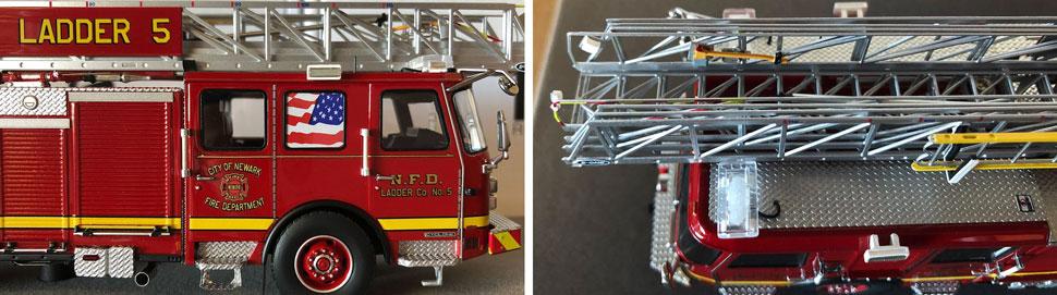 Closeup pics 3-4 of Newark Fire Department Ladder 5 scale model
