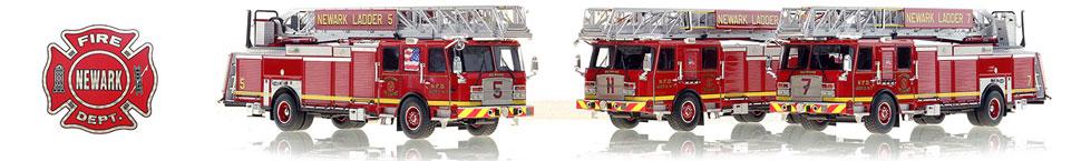 Museum grade scale model of Newark Fire Department ladders