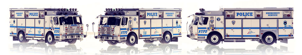 1:50 scale models of NYPD ESS Units 1, 2 and 7