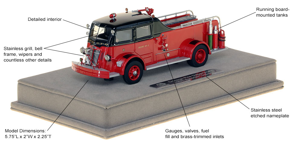 Features and Specs of Chicago's 1952 Autocar Squad 2 scale model