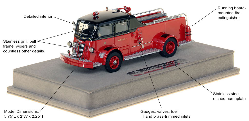 Features and Specs of Chicago's 1952 Autocar Squad 6 scale model
