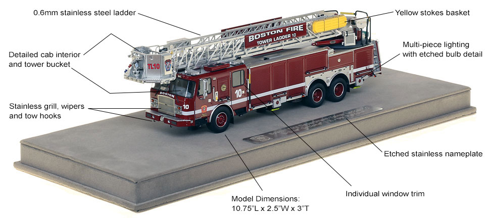 Features and specs of Boston Tower Ladder 10 scale model